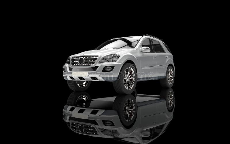 Vue supérieure argentée de SUV illustration stock