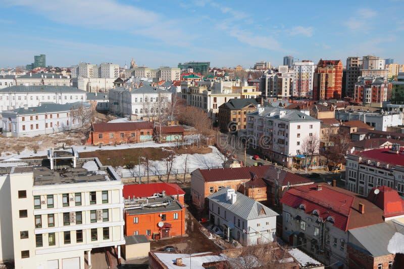Vue supérieure au centre historique de la ville Kazan, Russie image libre de droits