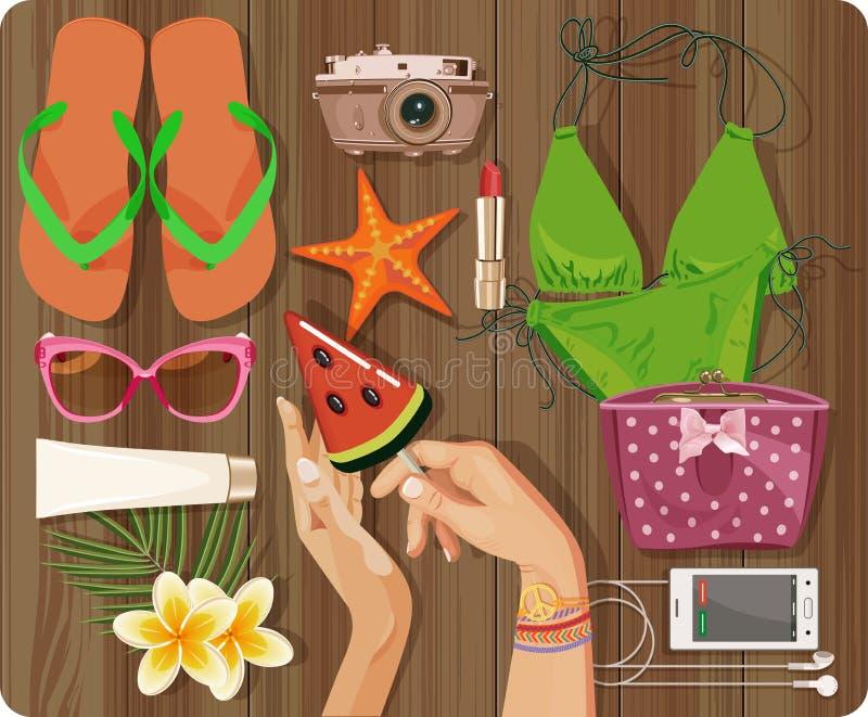 Vue supérieure avec l'ensemble texturisé de table et d'été, maillot de bain, étoile de mer, appareil-photo illustration stock