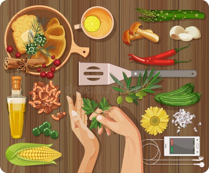 Vue supérieure avec la table texturisée, plats, plats, poivre, ail, asperge illustration de vecteur