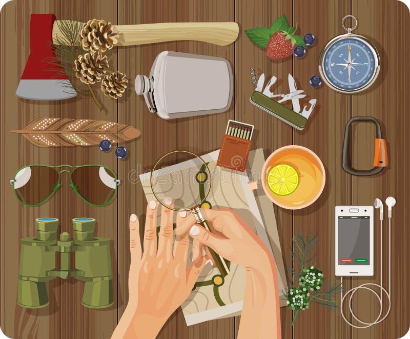 Vue supérieure avec la table texturisée, plume, mains, téléphone, écouteurs, hache illustration libre de droits