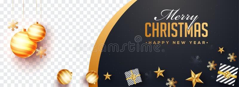Vue supérieure bannière De de Joyeux Noël et de bonne année de site Web illustration libre de droits