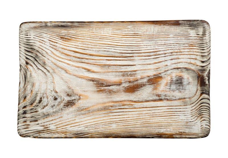 Vue supérieure blanchie par vintage de planche à découper d'isolement sur le fond blanc photographie stock libre de droits