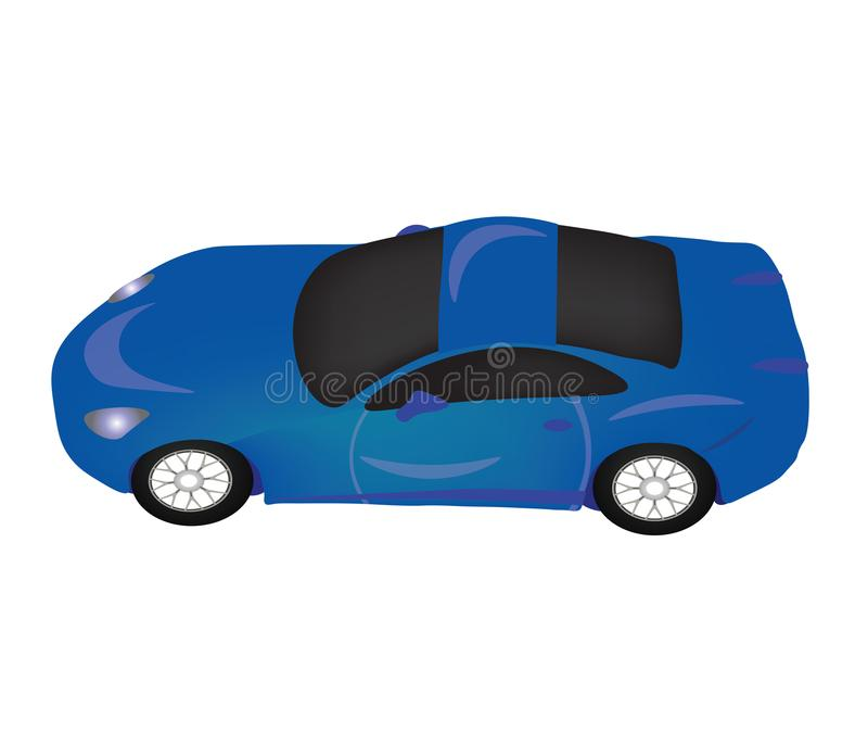 Vue supérieure bleue de voiture de sport illustration stock