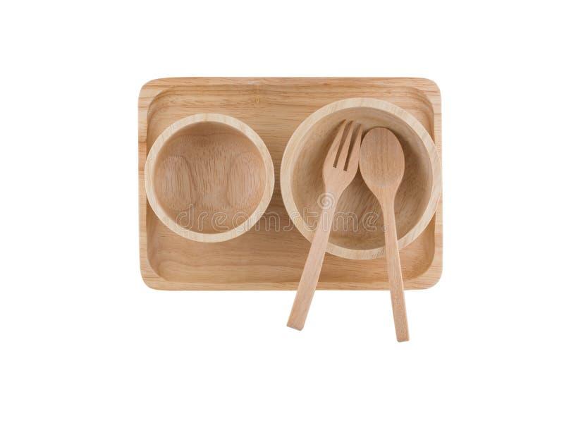 Vue supérieure, cuillère en bois et tasse en bois placées sur le plateau en bois image stock