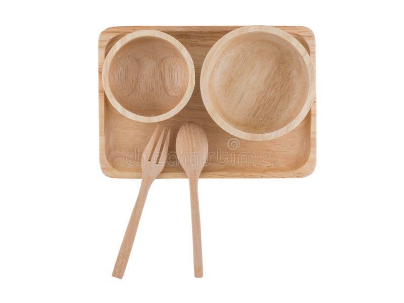 Vue supérieure, cuillère en bois et tasse en bois placées sur le plateau en bois images stock