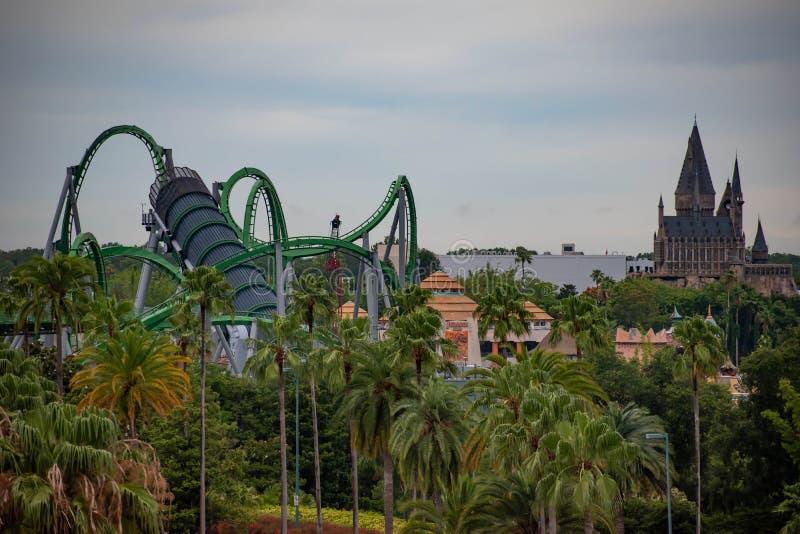 Vue supérieure d'île d'aventure à la région d'Universal Studios photos libres de droits