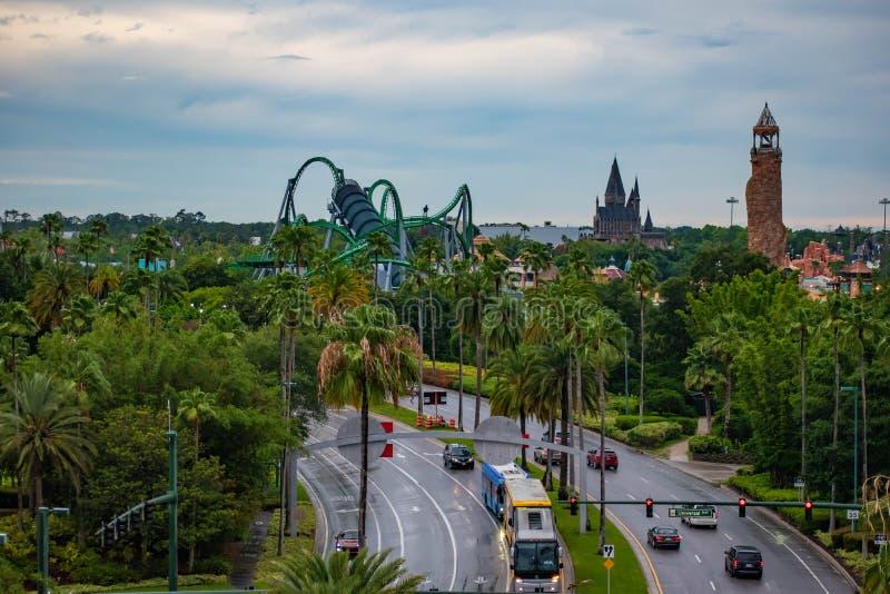 Vue supérieure d'île des attractions d'aventure à la région d'Universal Studios image libre de droits