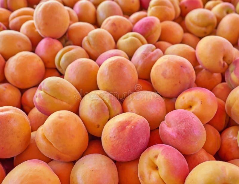 Vue supérieure d'abricots organiques, fond naturel photo libre de droits