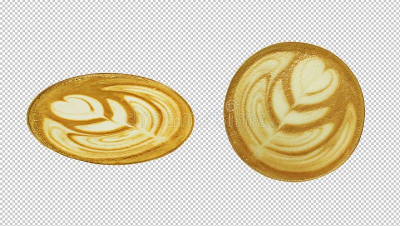 Vue supérieure d'art de latte de café Chemin de coupure photographie stock