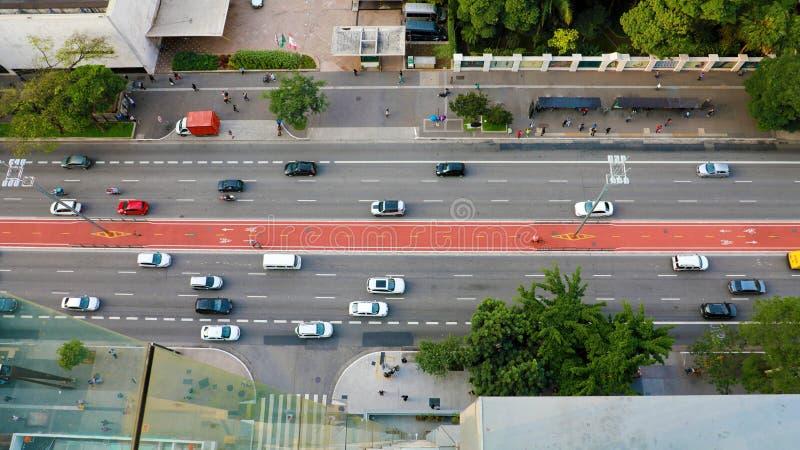 Vue supérieure d'avenue de Paulista, Sao Paulo, Brésil photos libres de droits