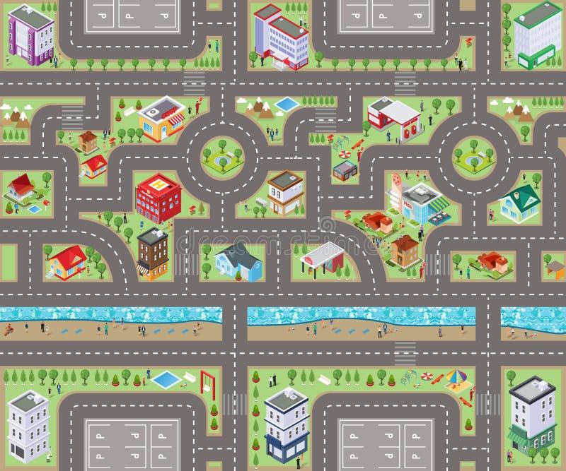 Vue supérieure 3D de carte de route photos stock