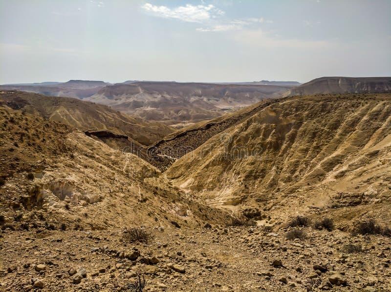 Vue supérieure d'Ein Ovdat à côté de Sde Boker Photo de voyage d'Israel Summer photographie stock