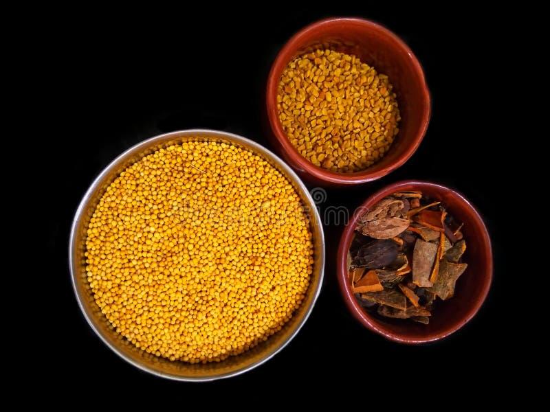 Vue supérieure d'ensemble pots indiens de terre cuite de taille d'épices et d'herbes de mélange de différents sur le fond noir image libre de droits
