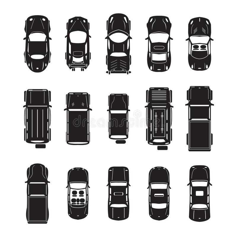 Vue supérieure d'icônes de voiture illustration stock