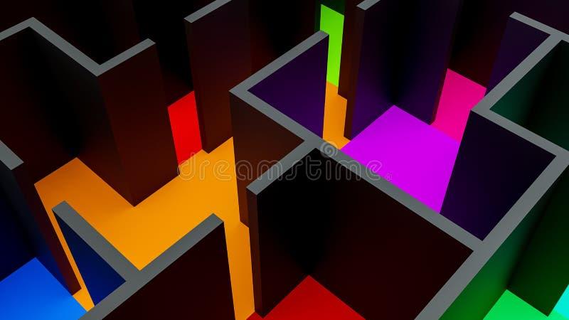 Vue supérieure d'illustration du constructivisme 3d de Suprematism illustration stock