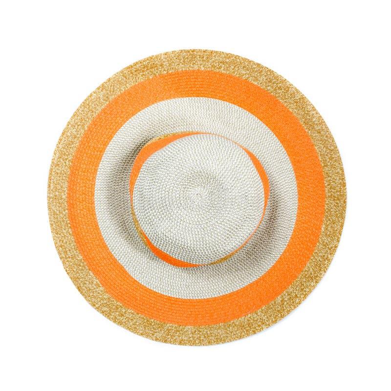 Vue supérieure d'un chapeau de paille rond sur un fond blanc. image libre de droits
