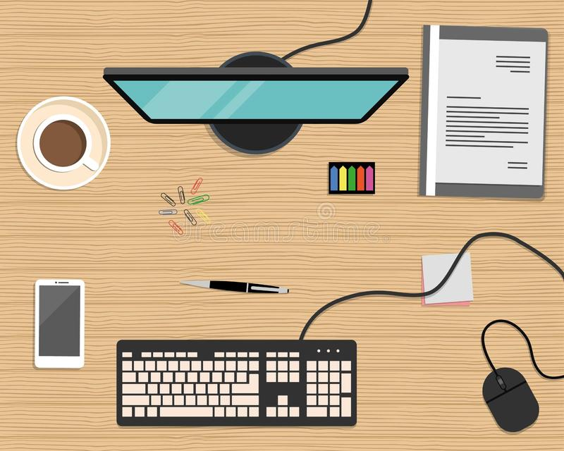 Vue supérieure d'un fond de bureau Il y a un ordinateur, un téléphone intelligent, un dossier gris, une papeterie et une tasse de illustration libre de droits