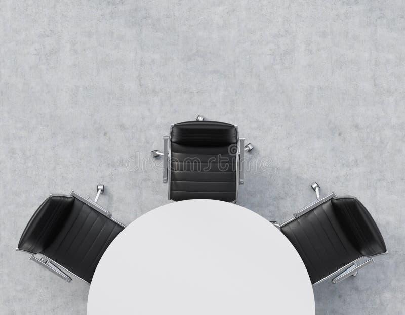 Vue supérieure d'une moitié de la salle de conférence Une table ronde blanche, trois chaises en cuir noires Intérieur de bureau illustration stock