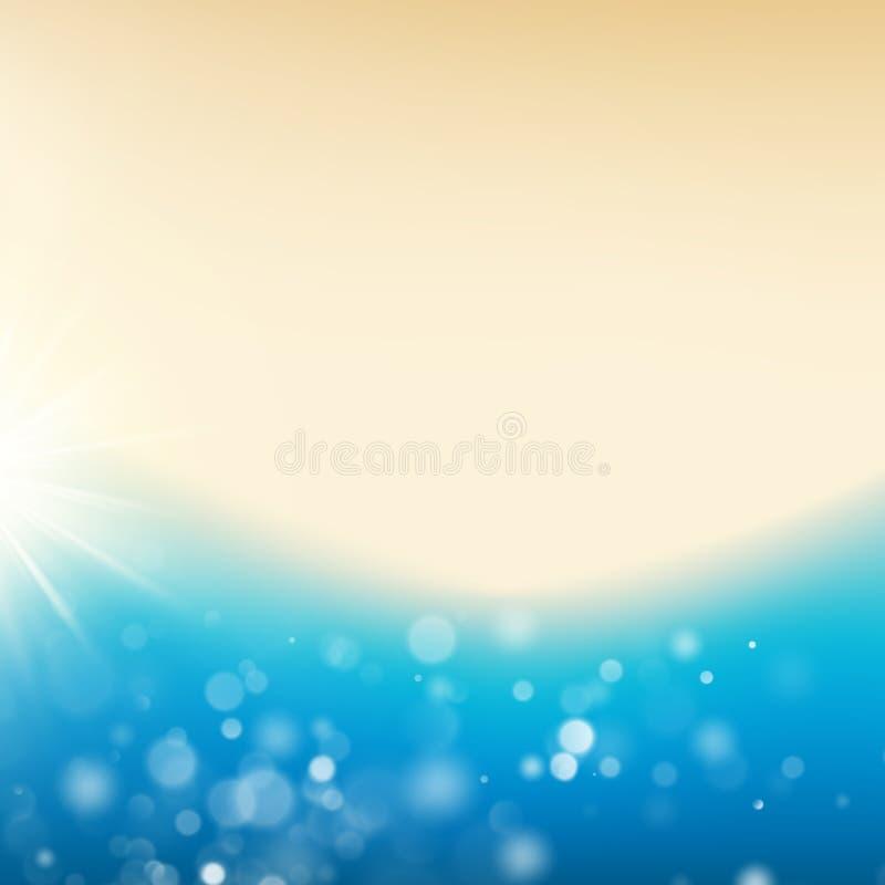 Vue supérieure d'une plage tropicale Bonjour fond d'été avec le littoral et le soleil ENV 10 illustration stock