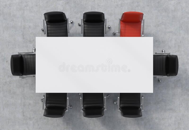 Vue supérieure d'une salle de conférence Une table rectangulaire blanche et huit chaises autour, l'un d'entre eux est rouge rendu image stock
