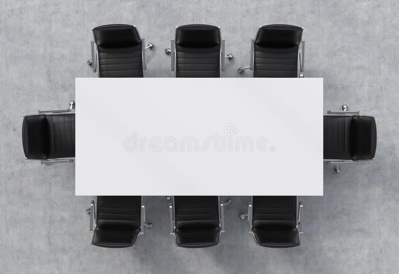 Vue supérieure d'une salle de conférence Une table rectangulaire blanche et huit chaises en cuir noires autour intérieur 3D illustration libre de droits