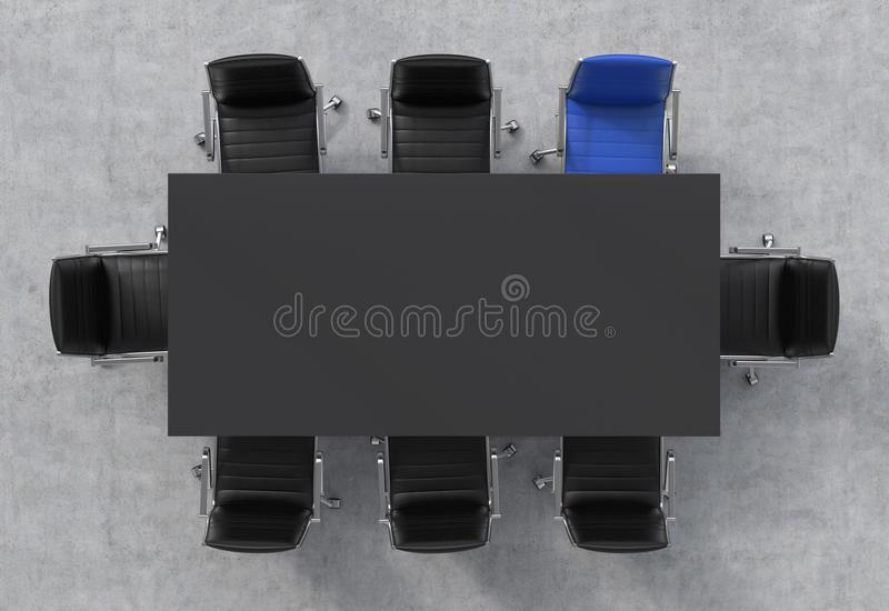 Vue supérieure d'une salle de conférence Une table rectangulaire noire et huit chaises autour, l'un d'entre eux est bleue Intérie illustration stock