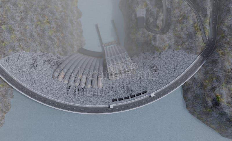 Vue supérieure d'usine de centrale hydroélectrique, illustration 3d photographie stock