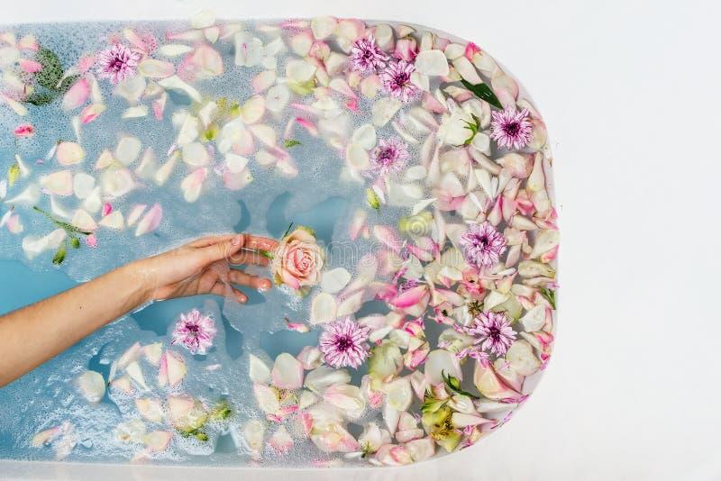 Vue supérieure de bain remplie d'eau, de fleurs et de pétales bleus de bulle avec la main de la femme images libres de droits