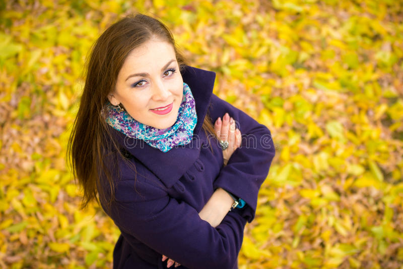 Vue supérieure de belle fille contre le contexte du feuillage d'automne photographie stock libre de droits