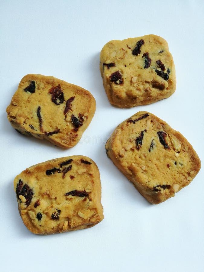Vue supérieure de biscuits de canneberge images stock