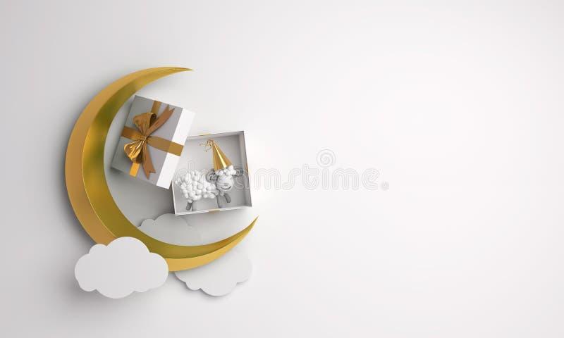 Vue supérieure de boîte-cadeau, mouton, croissant de lune d'or, nuage sur le studio allumant le fond blanc illustration de vecteur