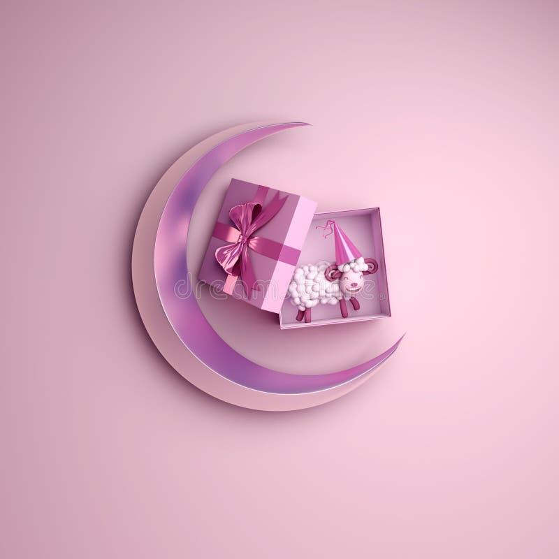 Vue supérieure de boîte-cadeau, mouton, croissant de lune sur le studio allumant le fond rose illustration de vecteur