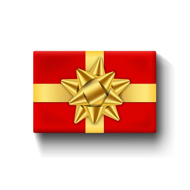 Vue supérieure de boîte-cadeau rouge, arc 3D de ruban d'or Fond blanc d'isolement Boîte-cadeau rouge actuel de décoration pour de illustration de vecteur