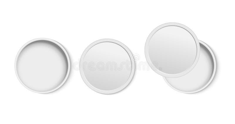 Vue supérieure de boîte vide ouverte blanche de rond illustration stock