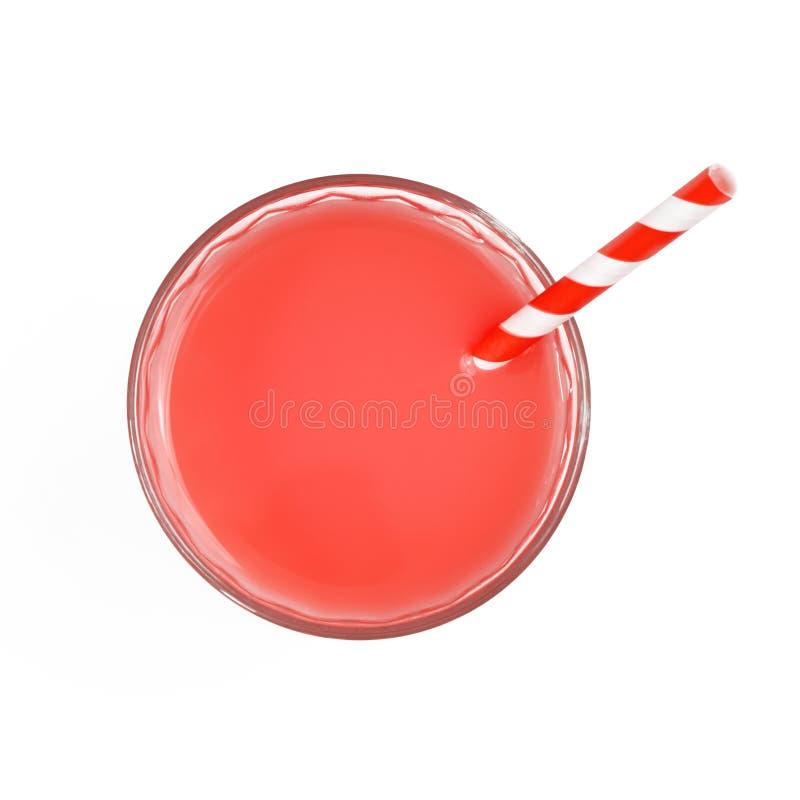 Vue supérieure de boisson non alcoolisée rose en verre D'isolement sur le fond blanc images stock