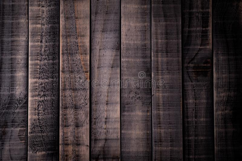 Vue supérieure de brun foncé et de fond en bois noir de texture, table en bois photos stock