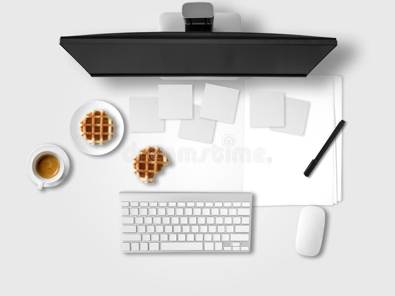 Vue supérieure de bureau avec des papiers de document photo libre de droits