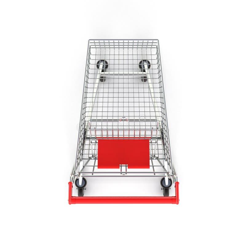 Vue supérieure de caddie de supermarché sur le fond blanc 3d illustration libre de droits