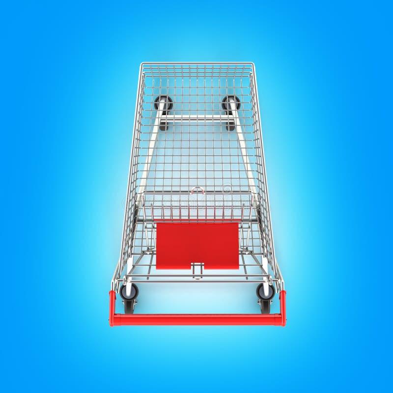 Vue supérieure de caddie de supermarché sur le fond bleu 3d de gradient illustration libre de droits
