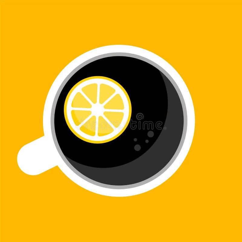Vue supérieure de café, tasse de thé, tasse avec la moitié du citron illustration libre de droits