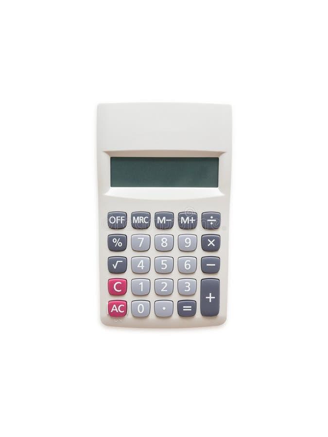 Vue supérieure de calculatrice d'isolement sur un fond blanc photos stock