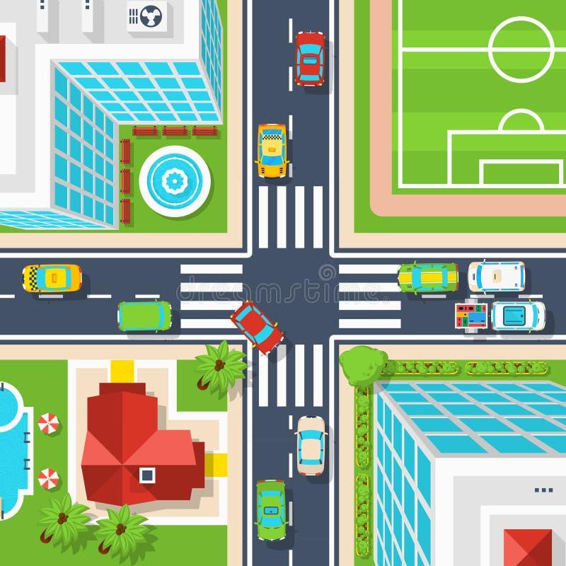Vue supérieure de carrefour de ville illustration libre de droits