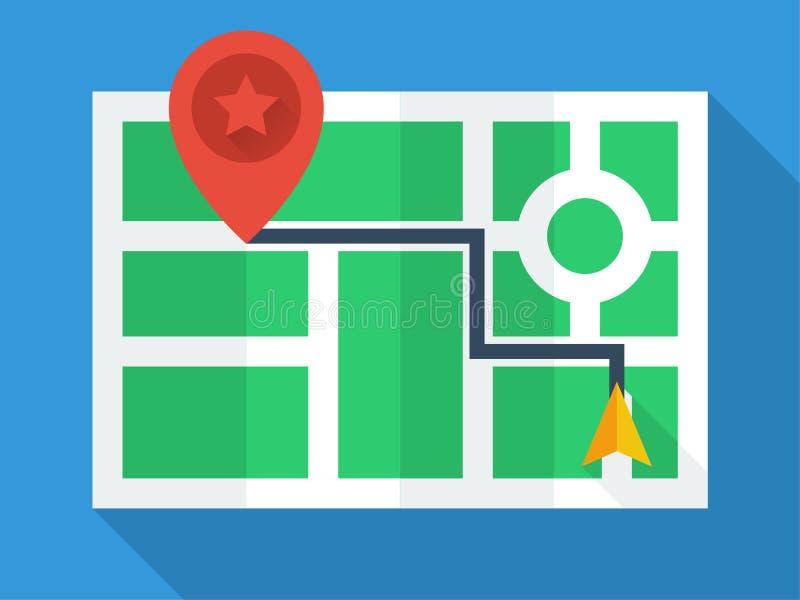 Vue supérieure de carte de GPS illustration stock