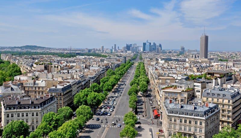 Vue supérieure de Champs-Elysees, Paris, France images stock