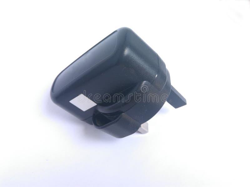 Vue supérieure de chargeur mobile noir sans fil photographie stock