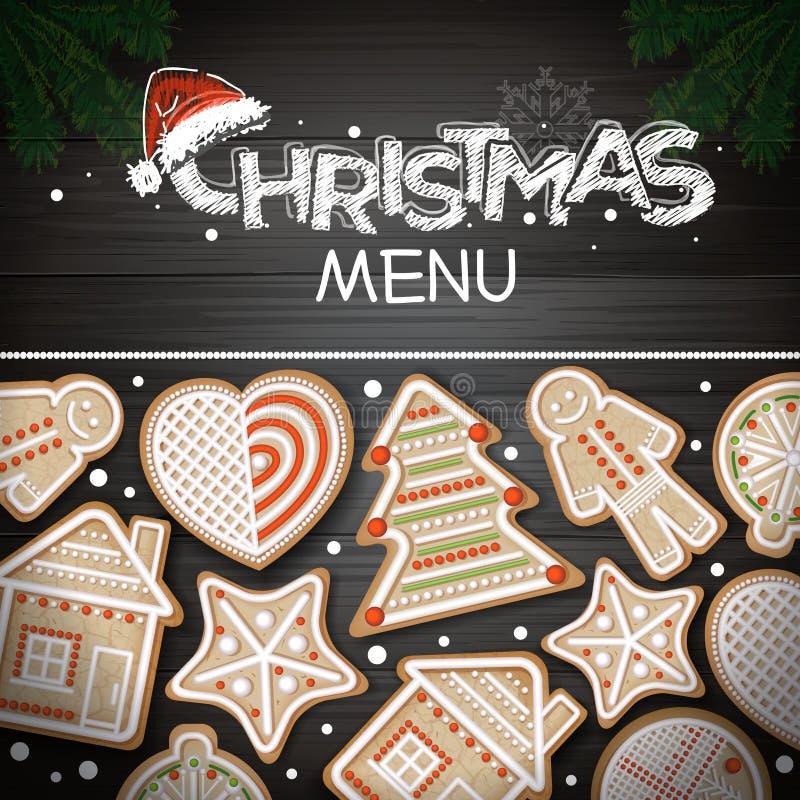 Vue supérieure de conception de l'avant-projet de Joyeux Noël Biscuits de vacances illustration de vecteur