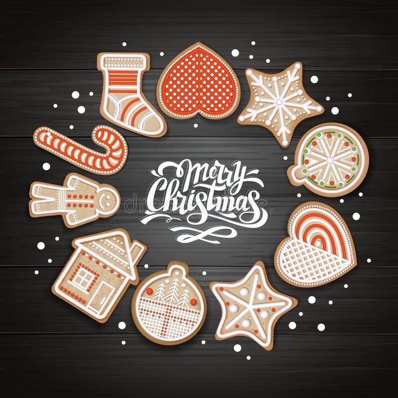 Vue supérieure de conception de l'avant-projet de Joyeux Noël Biscuits de vacances sur le fond en bois illustration libre de droits