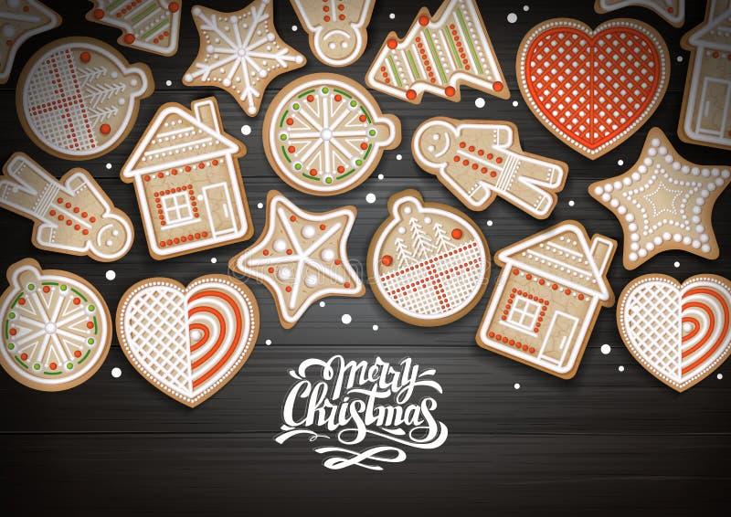 Vue supérieure de conception de l'avant-projet de Joyeux Noël Biscuits de vacances sur le fond en bois illustration stock