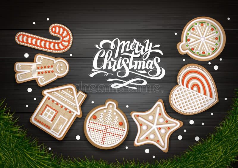 Vue supérieure de conception de l'avant-projet de Joyeux Noël Guirlande de Noël avec des biscuits sur le fond en bois illustration de vecteur